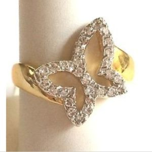 Gold Butterfly Cocktail Ring Size 9 10 Statement